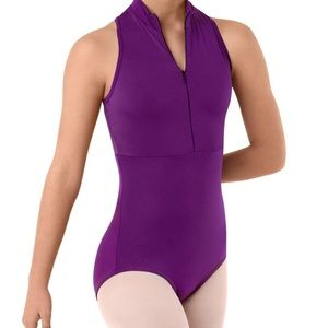 NEW Body Wrappers Purple Front Zip Mesh Leotard M